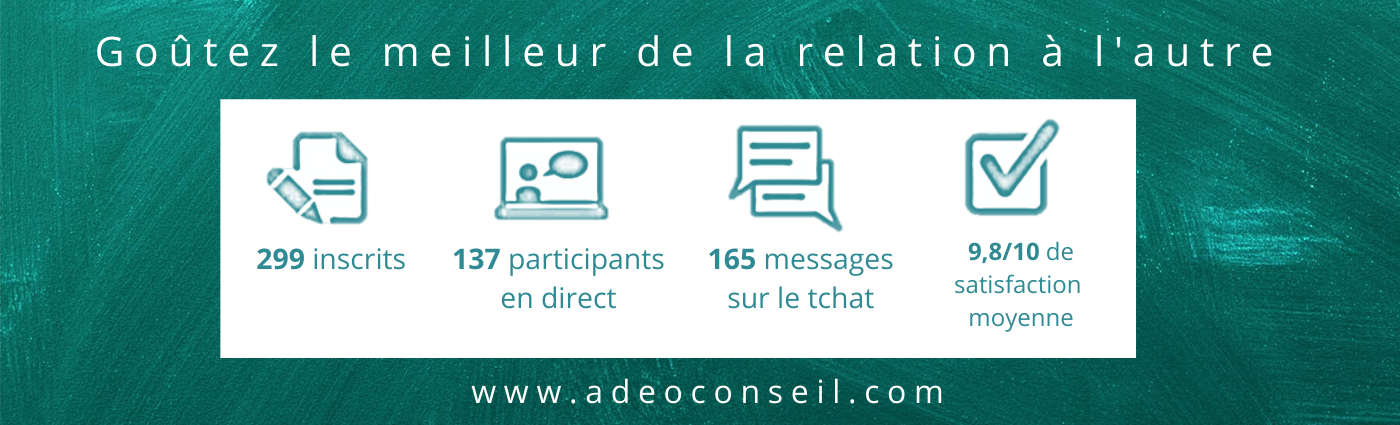 199 inscrits - 137 participants en direct - 165 messages sur le chat - 9.8/10 de satisfaction moyenne