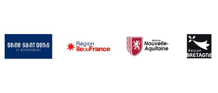 logo seine-saint-denis, région île-de-france, région aquitaine, région bretagne
