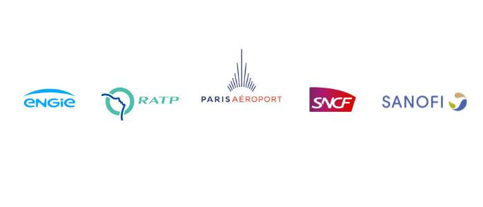 logos engie, ratp, paris aéroports, sncf, sanofi