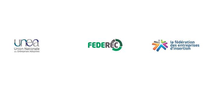 logos unea, federec, fédération des entreprises d'insertion